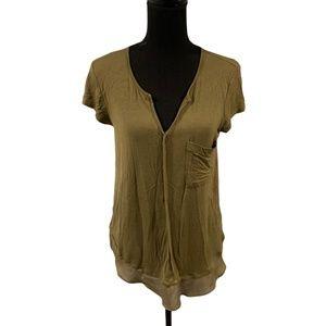 Bordeaux Short Sleeve V-neck T-shirt Small Olive